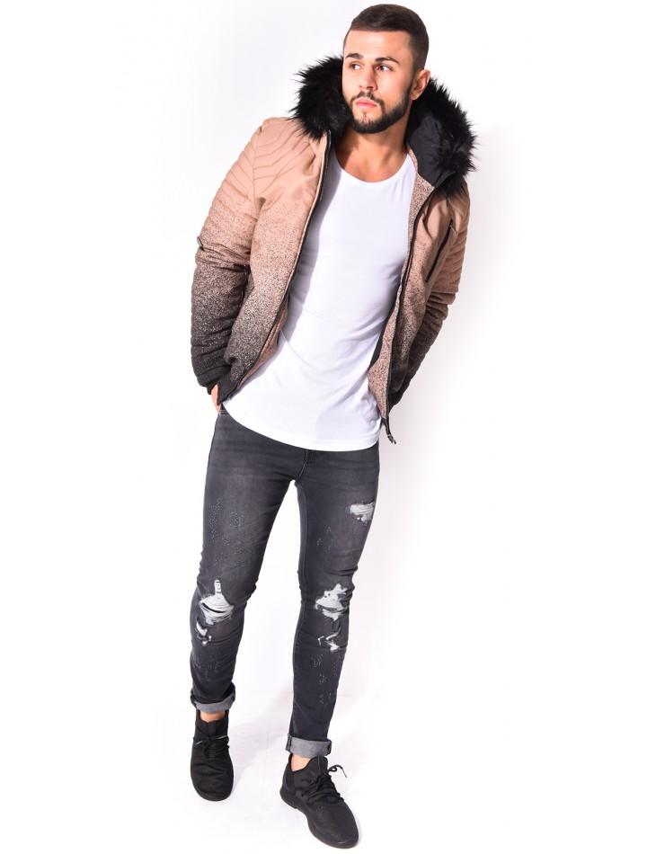 Jeans slim délavé et destroy