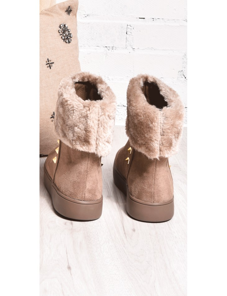 Fur Ankle Boots with Studs