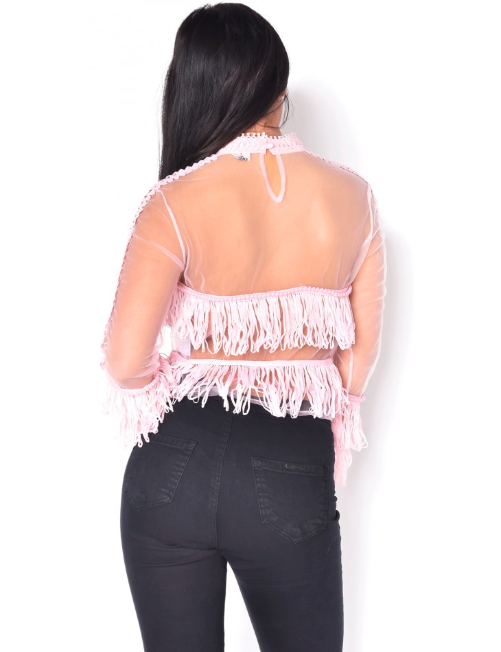 Transparent Blouse with Fringes