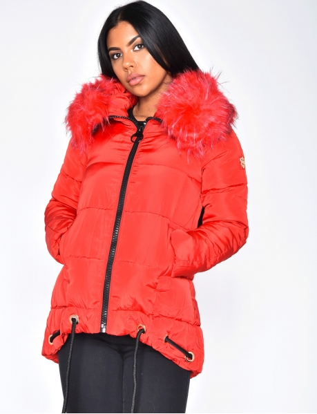 Quilted Parka with Red Fur