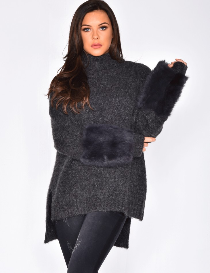 Wool Jumper with Fur