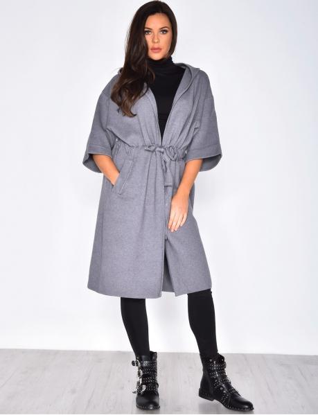 Wool Kimono Jacket with Pompom