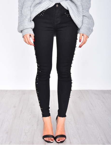 Skinny Black Jeans with Pearls