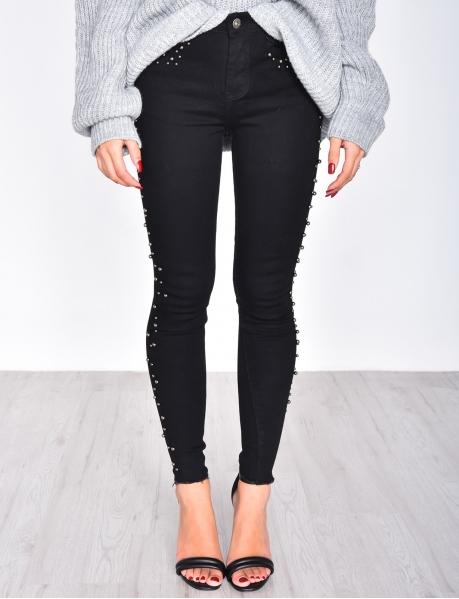 Jeans Skinny Fit schwarz mit Perlen