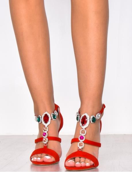 Sandales à talons en suédine à bijoux