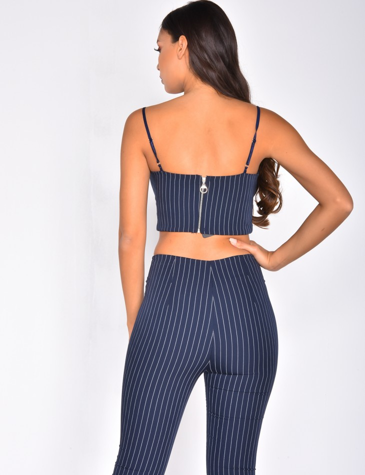 Bralette with Thin Stripes and a Zip at the Back