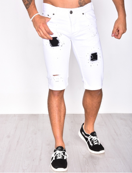 Ripped Bermuda Shorts with Marks and Inserts