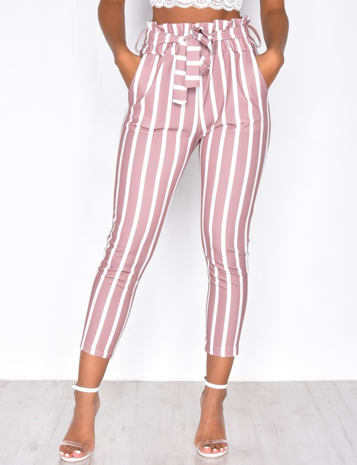 High Waisted Striped Tie Suit Trousers