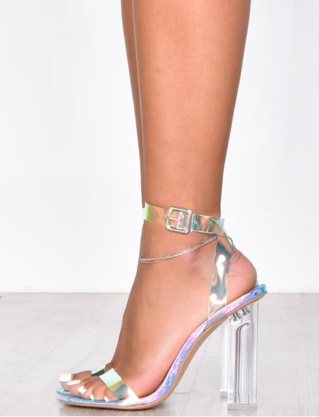 Sandales à talons transparent