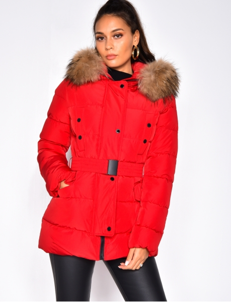 Padded Jacket with Belt and Fur