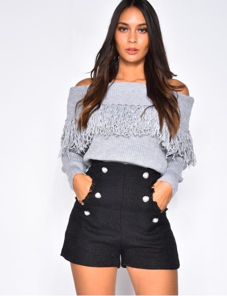 Bardot Knit Jumper with Fringes