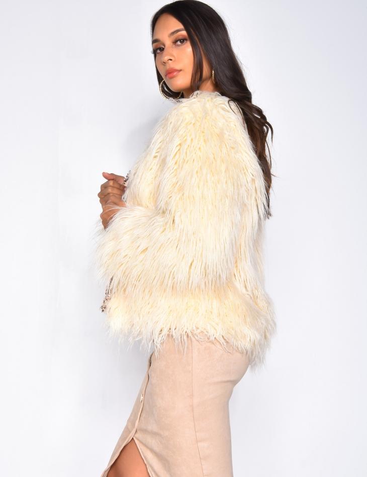 Fringe jacket with tweed trim