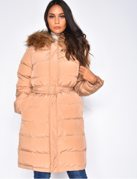 Long Padded Jacket with Belt & Fur