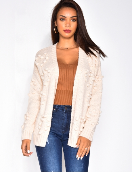 Wool Cardigan with Pompoms