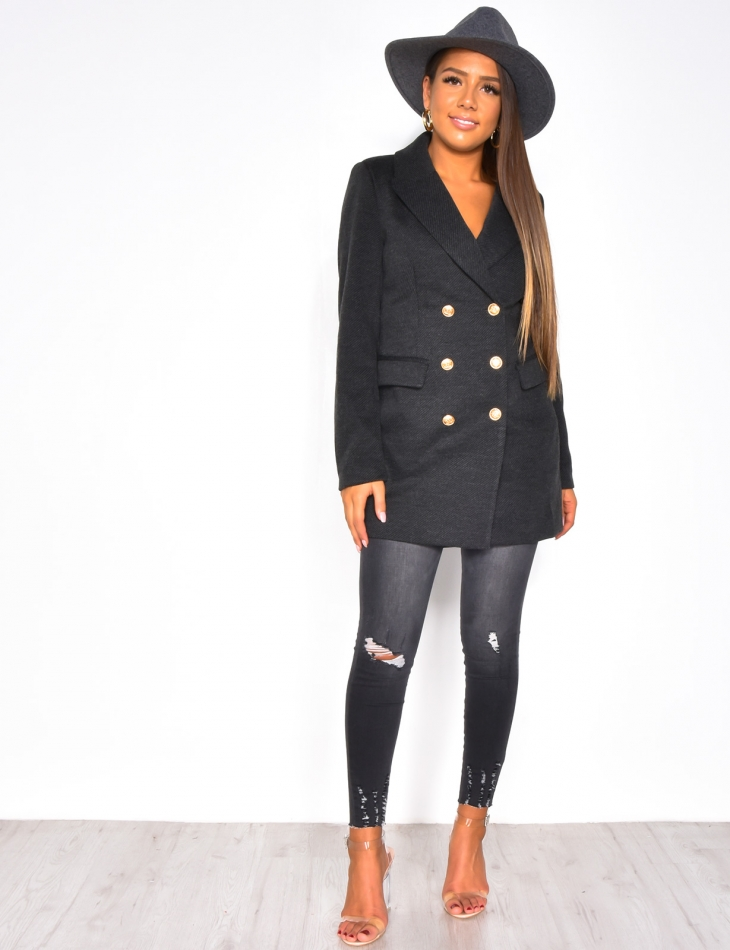 Mid-Length Blazer with Officer Buttons
