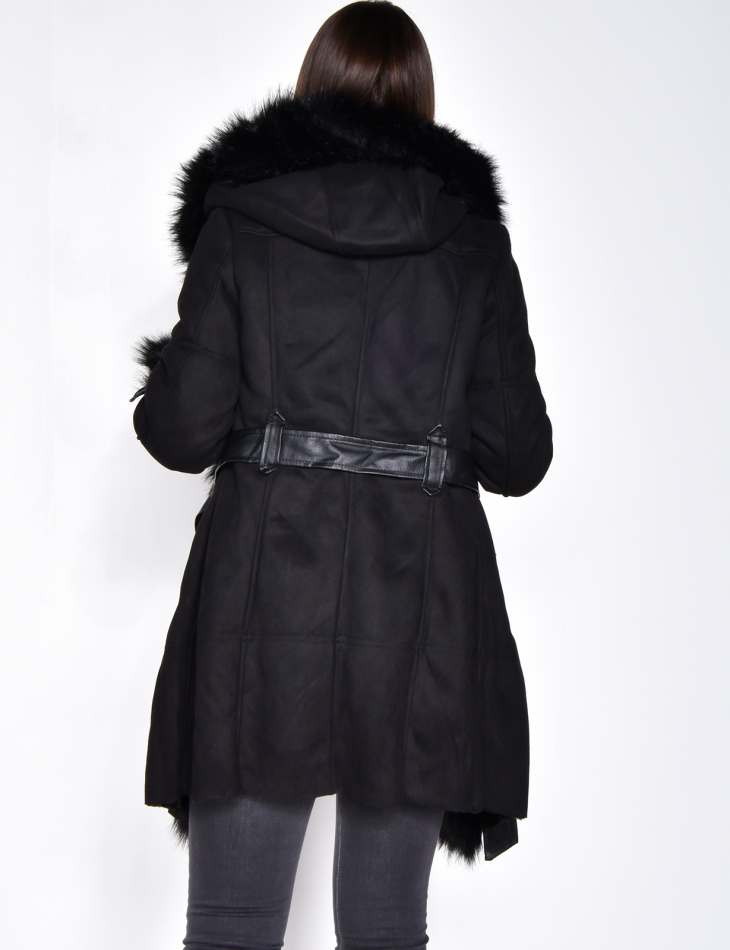 Long Suedette Faux Fur Coat