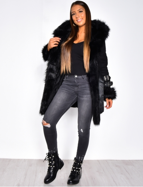 Long Suedette Faux Fur Coat