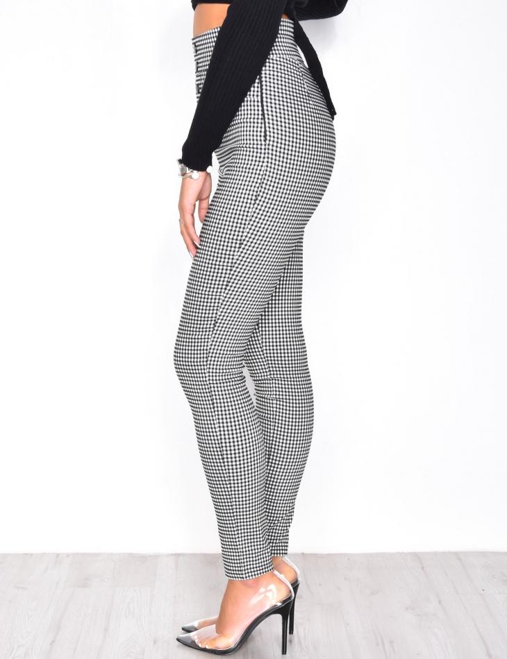 Pantalon taille haute à carreaux à vichy