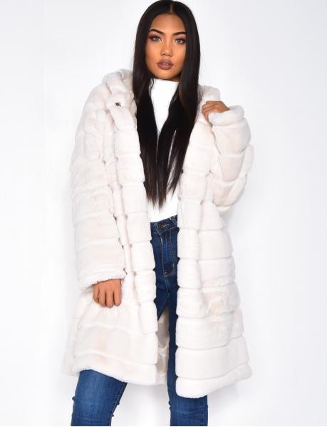 Manteau en fausse fourrure à capuche
