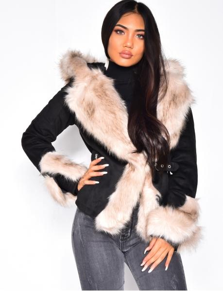 Manteau à capuche en suédine