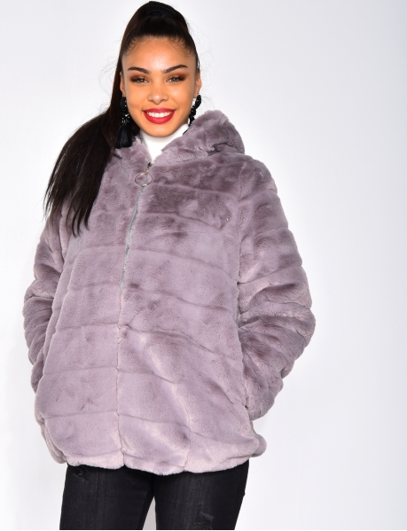 Faux Fur Jacket with Zipped Hood