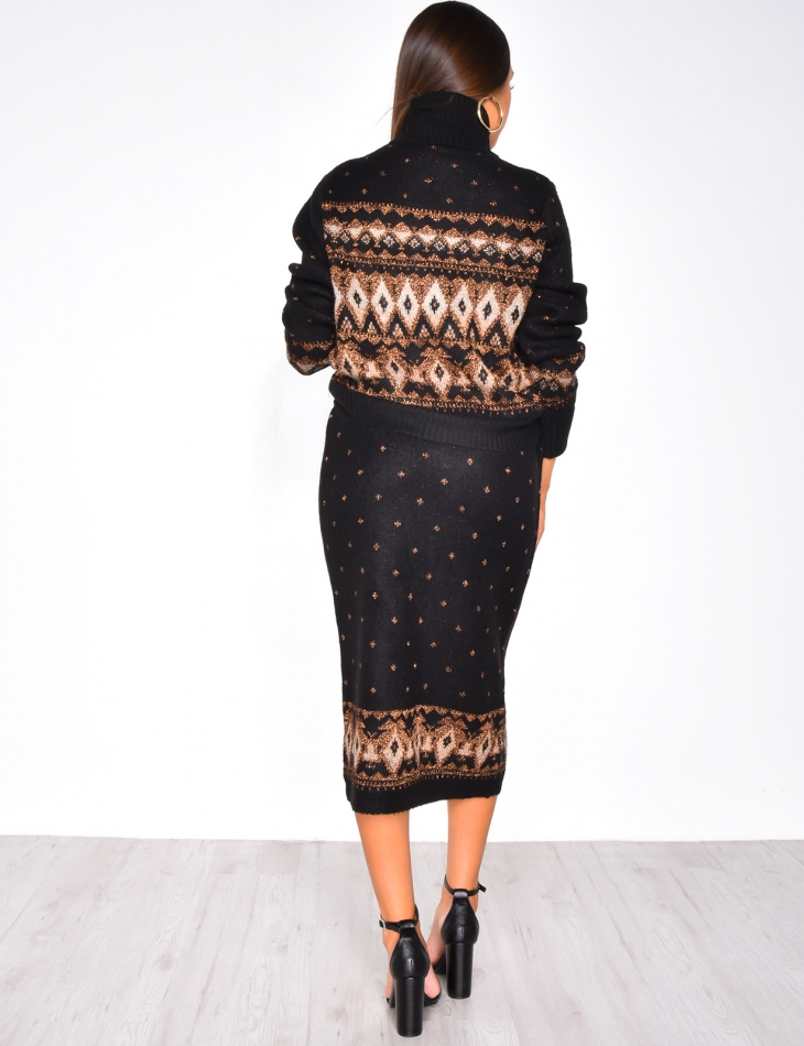Jumper & Skirt Co-ord with Wintery Pattern