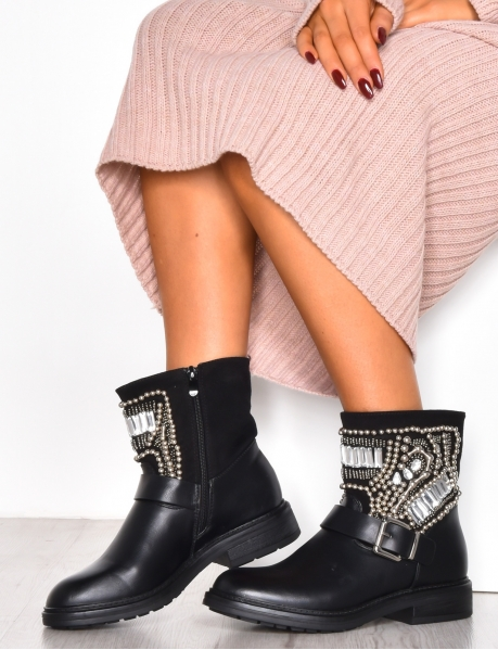 Biker Ankle Boots with Rhinestones