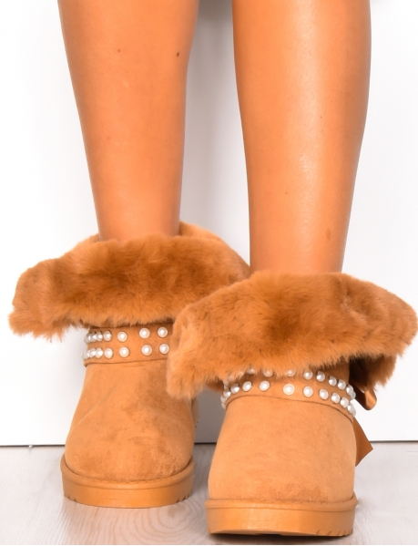Ankle Boots with Fur & Pearls