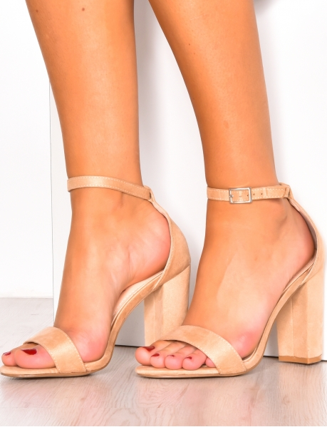 Suedette heeled sandals