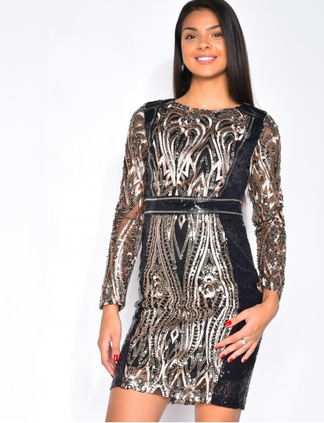 Long-sleeved Dress with Embroidered Sequins