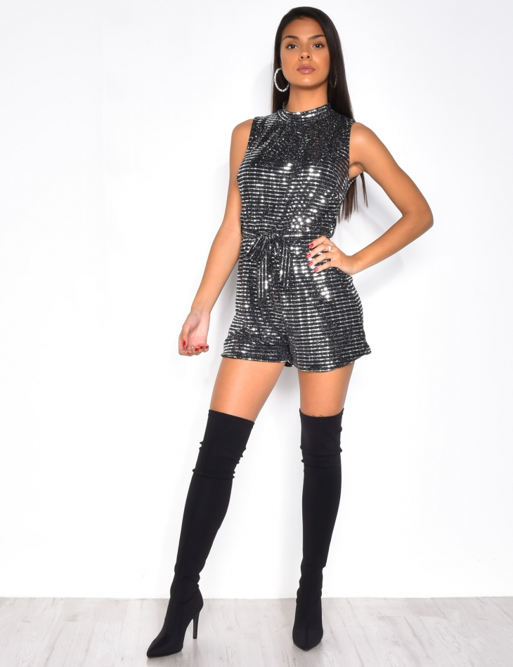 Glittery Playsuit with Belt