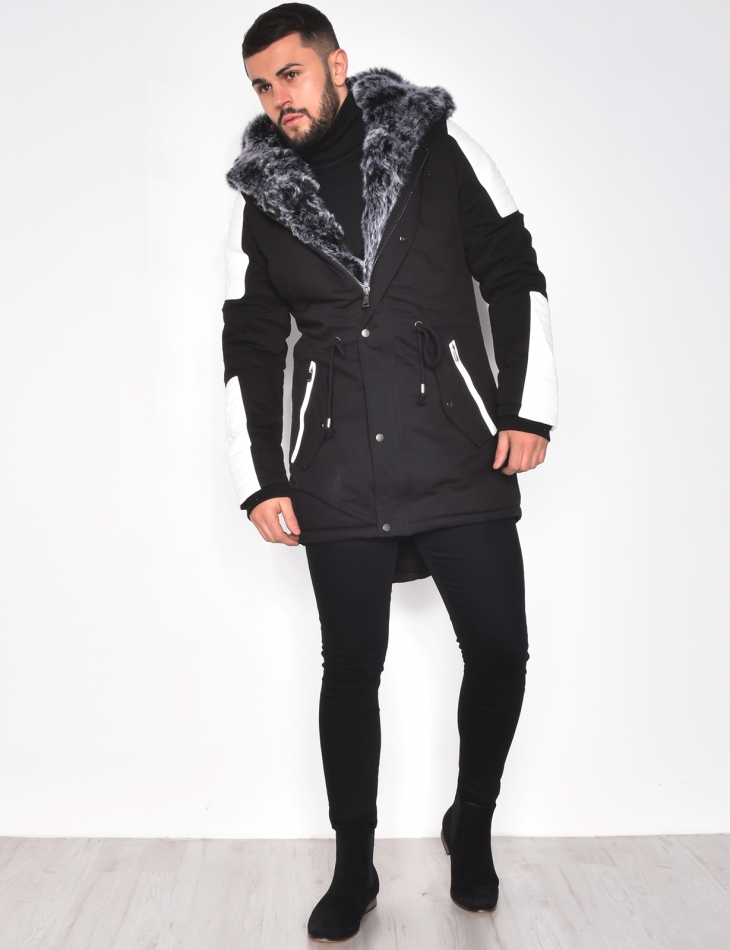 Parka with Faux Leather Inserts