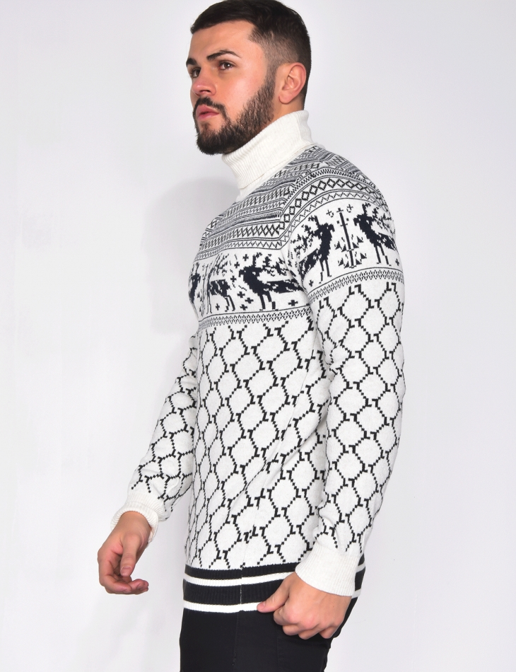 Polo Neck Jumper with Wintery Patterns