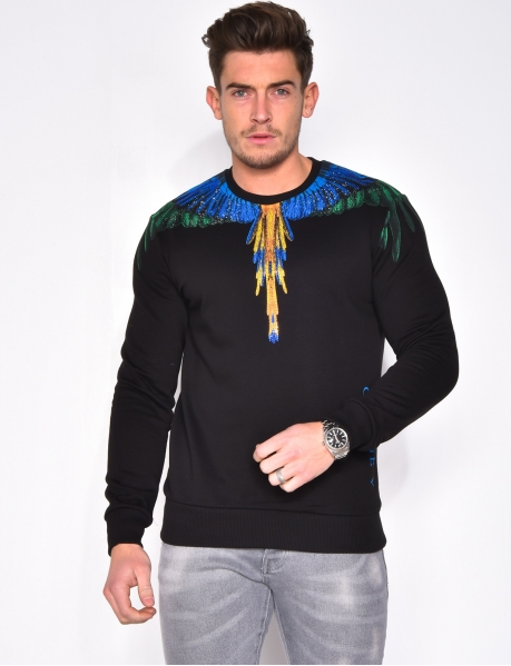George V Sweatshirt with Rhinestone Feathers