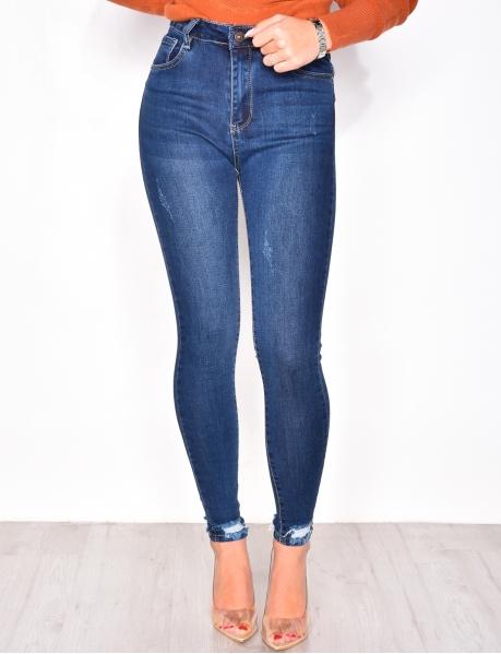 Jeans skinny destroy aux chevilles