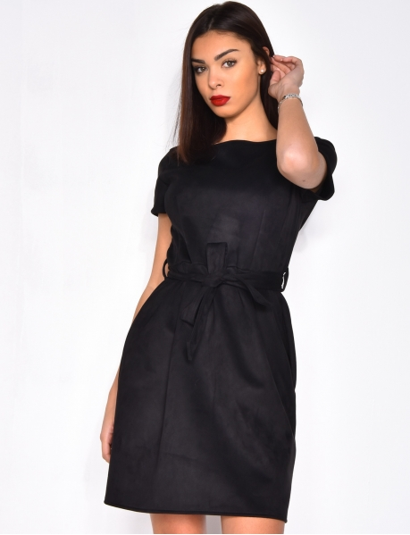 Suedette Dress with Belt