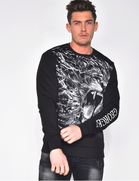 Sweat à imprimé tête de lion en strass