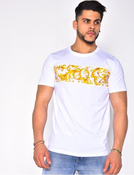 T-shirt à bandes motif baroque