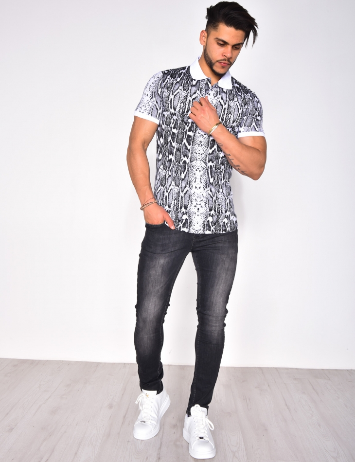 Polo Shirt with Snakeskin Pattern