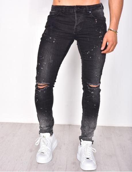 Jeans skinny destroy dégradé