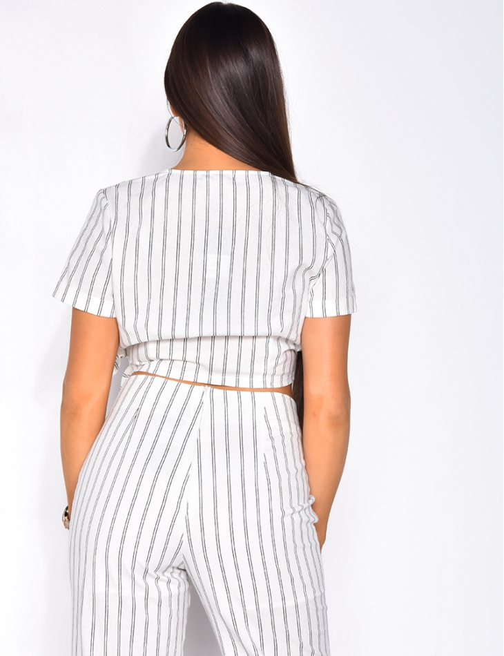 Striped Wrapover Crop Top