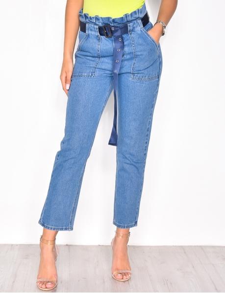 Mom-Jeans mit Gürtel, hohe Taille