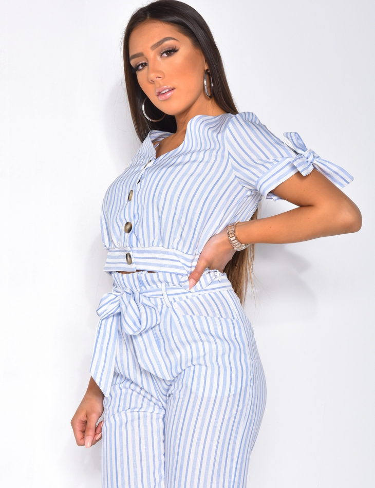 Short Striped Blouse with Buttons