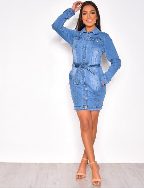 Robe en jeans manches longue à ceinture