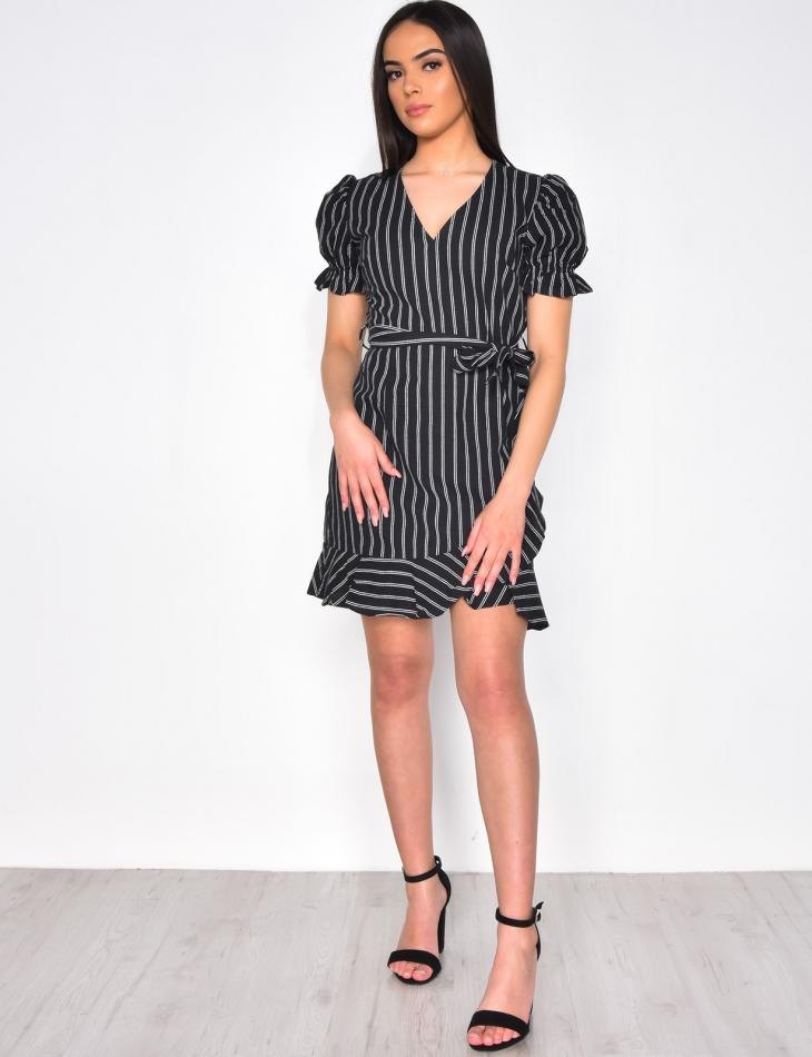 Striped Tie Dress with Ruffles