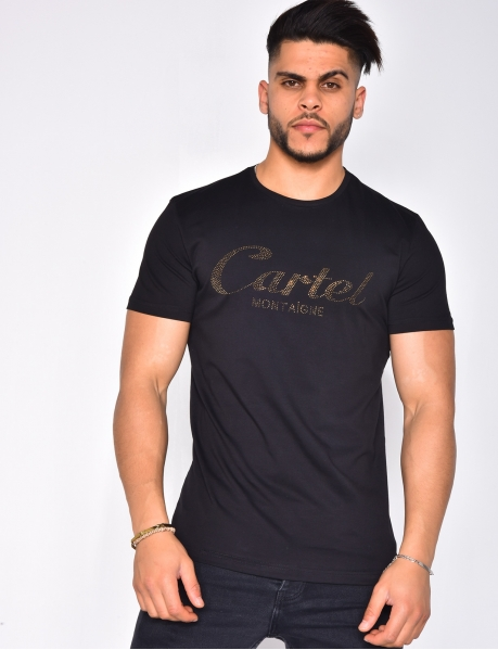 T-shirt with 'Cartel Montaigne' in Rhinestones