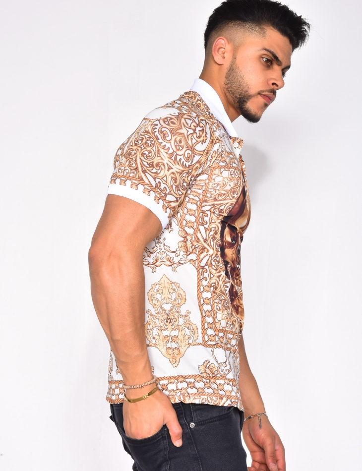 Polo Shirt with Baroque and Skull Pattern