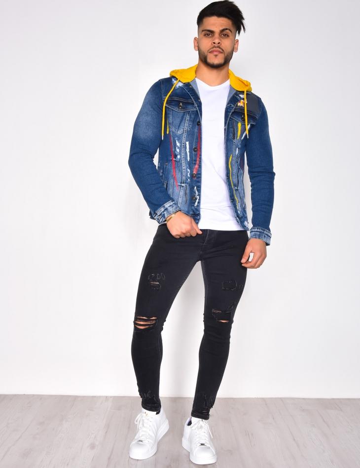 Denim Jacket with Paint Flecks and Hood