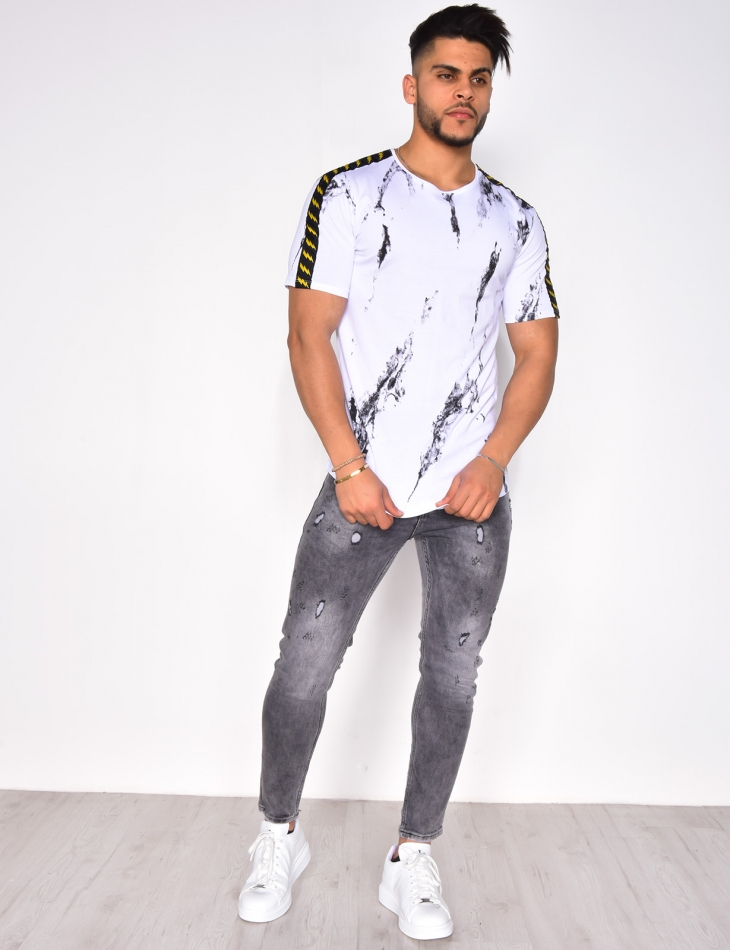 Marble T-shirt with Stripes