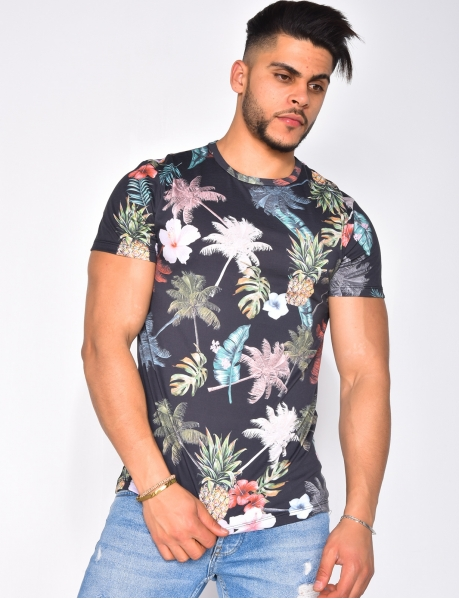 T-shirt with Tropical Pattern